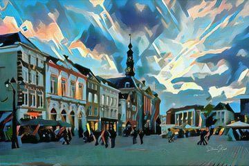 Abstract Schilderij Den Bosch: De Markt in blauwe tinten van Slimme Kunst.nl