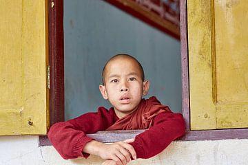 Junger Mönch beim Zuschauen eines Festivals in Myanmar. von Jeroen Florijn