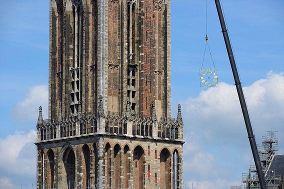 Verwijdering wijzerplaten Domtoren in Utrecht