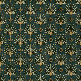 Elegantes Art Deco Muster Gold Grün von Andrea Haase