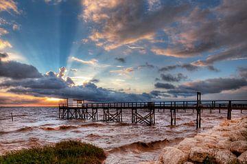 Französisch Fischerhütte und Sonnenuntergang