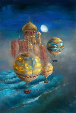 Luchtballonnen vliegen richting een stad van Atelier Liesjes