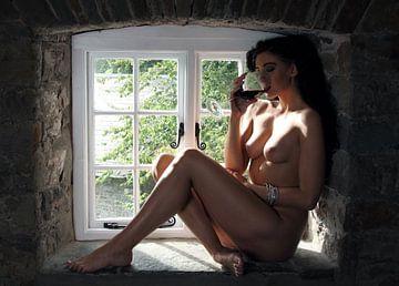 Vrouw, naakt in een raam van