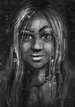 Zwart wit portret - mixed media - schilderij met verschillende technieken van Emiel de Lange