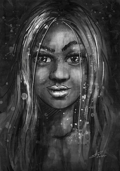 Schwarz-Weiß-Porträt - Mischtechnik - Malen mit verschiedenen Techniken von Emiel de Lange