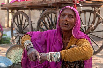 India: Marktkoopvrouw (Jorawarpur) van Maarten Verhees