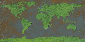 Afbladderende wereldkaart, groen van Frans Blok
