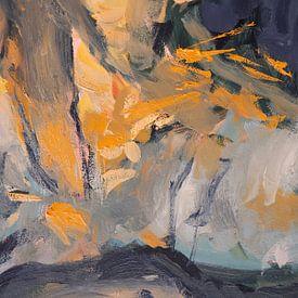 Abstrakte Olive in Grau und Orange von Nop Briex