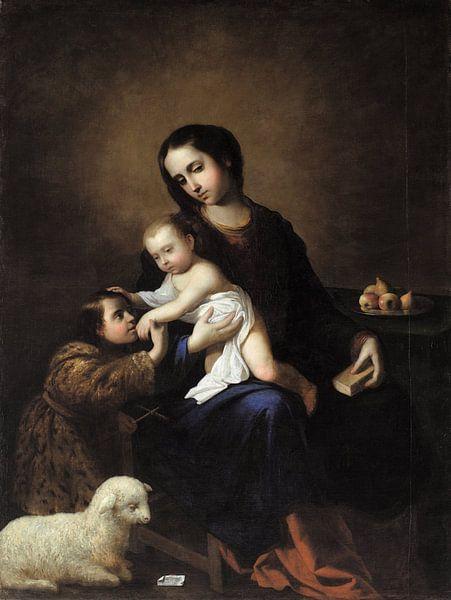 Die Jungfrau und das Kind mit dem Kind Johannes der Täufer, Francisco de Zurbarán von Meesterlijcke Meesters