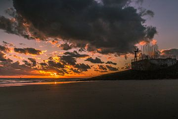 Het windorgel bij zonsondergang
