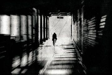 Fietser in de tunnel van Frank Andree