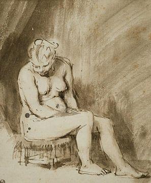 Rembrandt van Rijn, Naakte vrouw zittend op een kruk, 1654-1656 van Atelier Liesjes