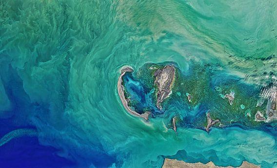 Noord-Kaspische Zee, vanuit de ruimte van Moondancer .