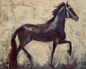 Une peinture abstraite d'un cheval frison