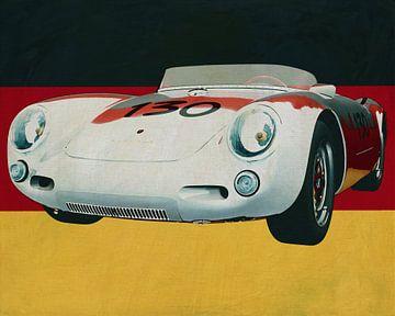 Porsche 550-A Spyder uit 1956 voor de Duitse vlag van Jan Keteleer