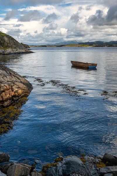 Roeiboot langs de Atlantische weg in Noorwegen van Arjen Roos