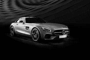 Mercedes SL-Coupé supercar in Schwarz-Weiß von Atelier Liesjes
