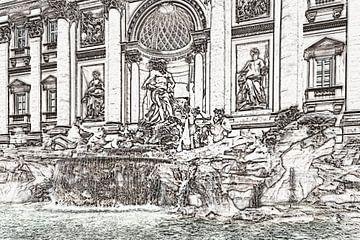 Trevifontein in Rome, Italië van Gunter Kirsch