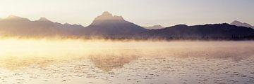 Nebel über dem Hopfensee bei Sonnenaufgang, Allgäu, Bayern von Markus Lange