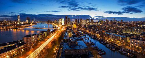 Rotterdam blauwe uur panorama van