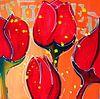 Rode moderne bloemen schilderij van tulpen van Nicole Roozendaal thumbnail
