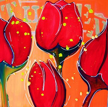 Rode moderne bloemen schilderij van tulpen van Nicole Roozendaal