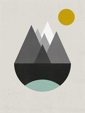 Abstracte Retro Berglandschap Poster - Noordse Wanddecoratie van MDRN HOME