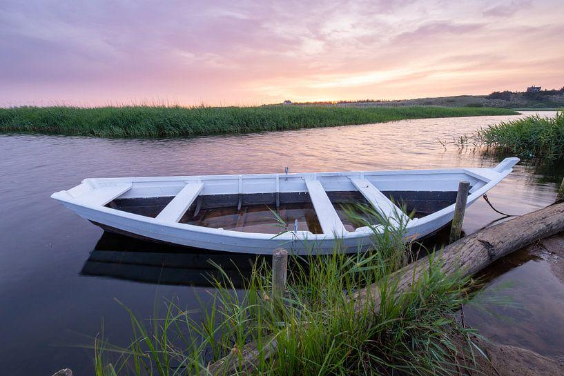 Ruderboot im Schilf van Matthias Nolde