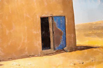Ingang van een lemen hut in de woestijn van Frank Heinz