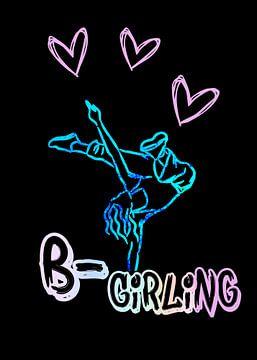 Breakdance Girling Neon ontwerp op zwart van KalliDesignShop