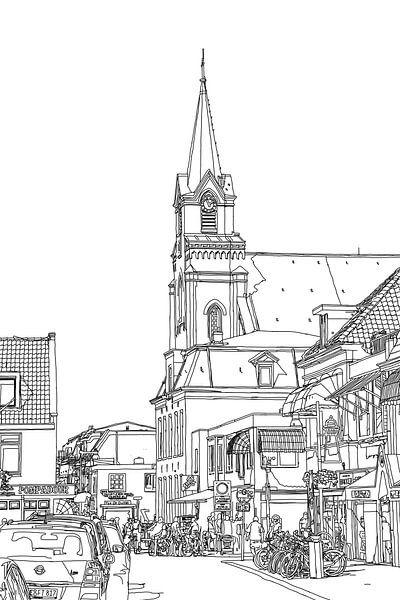 Sint Agnes Kirche Voorstraat Egmond aan Zee Niederlande Schwarz und Weiß von Hendrik-Jan Kornelis