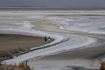 Bevroren Waddenzee bij Zwarte Haan van Meindert van Dijk