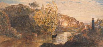 Samuel Palmer~Samuel Palmer~Tintern Abbey bei Sonnenuntergang