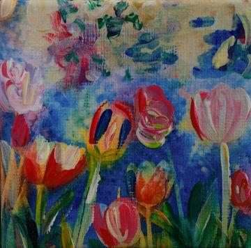 Tulpen flirten met Hollandse Lucht (Inspiratie: Keukenhof) van Angelique van 't Riet