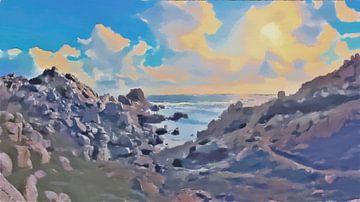 Sardinië - Kust Landschap met Bewolkte Zonsondergang - Capo Testa - Italië - Schilderij