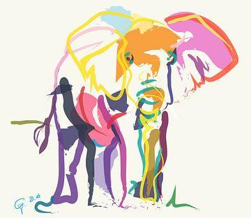 Elefant in Ecru von Go van Kampen
