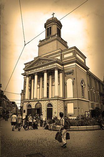 Pentekening Leiden Hartebrugkerk Sepia Tekening Lijntekening