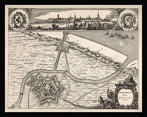 Alte Karte von Grevelingen aus der Zeit um 1730