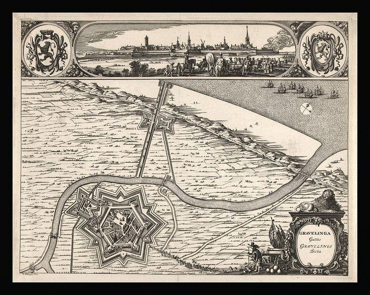 Alte Karte von Grevelingen aus der Zeit um 1730 von Gert Hilbink