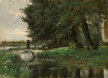 Carlos de Haes-Rivier bossen boogbrug landschap, Antiek landschap