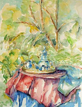 Kopje koffie in de tuin. van Ineke de Rijk