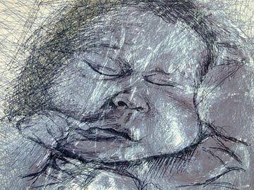 Baby in blauw van Anita Snik-Broeken