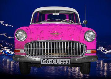 Opel Olympia Rekord Caravan in pink Pop Art von aRi F. Huber