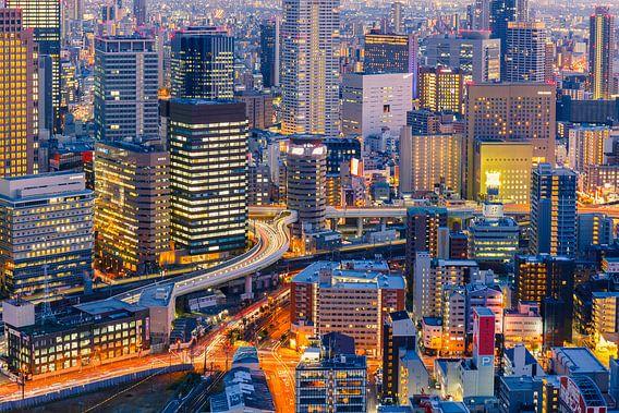 Osaka skyline van Marcel Tuit