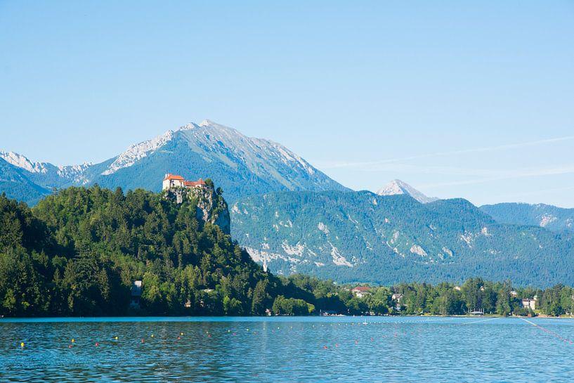 Kerk op een een heuvel bij het meer van Bled, Slovenie van Lifelicious