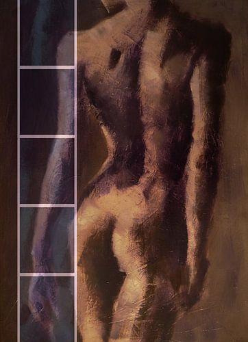 model, vrouw, naakt, rug, bruin. Anna. van Alies werk