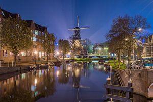 Molen 'de Valk' in het nachtelijke Leiden