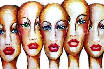 Vrouwen zonder Haar met Rode Lippen van e-STER design