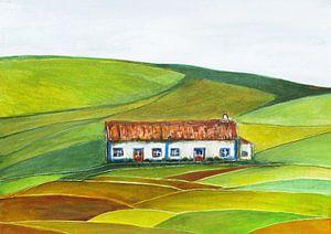 Weißes Bauernhaus in Portugal.