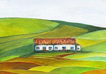 Weißes Bauernhaus in Portugal. von Ineke de Rijk